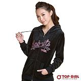 【TOP GIRL】流線字母絨毛連帽外套(飽和黑)
