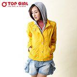【TOP GIRL】連帽假兩件風衣外套(陽光黃)