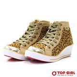 【TOP GIRL】SEXY GIRL狂野豹紋增高鞋-金檳金