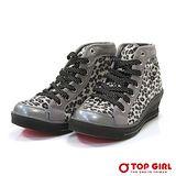 【TOP GIRL】SEXY GIRL狂野豹紋增高鞋-神祕灰