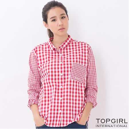 【TOP GIRL】長版格子襯衫-女(格子紅) -friDay購物 x GoHappy