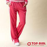 【TOP GIRL】時尚運動POLY針織長褲-女(火熱紅)