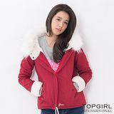 【TOP GIRL】毛毛帽造型夾克 (火熱紅)
