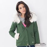 【TOP GIRL】毛毛帽造型夾克 (軍綠色)