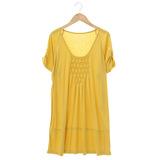 【AZUR】簡約風菱格紋胸前設計上衣-黃