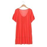 【AZUR】簡約風菱格紋胸前設計上衣-橘紅