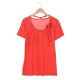 【AZUR】蕾絲花紋胸前設計上衣-橘紅