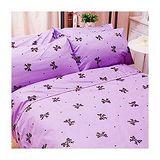 名流寢飾 100%精梳棉標準雙人床包組 -蝴蝶結派對