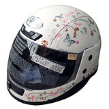 「ASIA Breeze A801」花紋全罩式安全帽 白