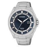 CITIZEN Eco-Drive 雙層環道日期顯示鈦金屬腕錶-藍x銀