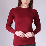 【Warm Power】日本專利吸濕發熱內刷毛保暖衣 女立領衫(暗紅色)