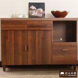 【日本直人木業】簡約美學-胡桃木色北歐收納廚櫃