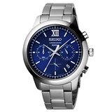 SEIKO 命運輪盤三眼時尚腕錶-藍X銀
