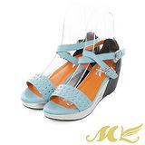 MK-臺灣製-繞踝鉚釘粗帶楔型涼鞋-粉藍