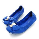 itabella.羊皮壓紋貼蝴蝶結包鞋-藍