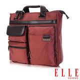 ELLE HOMME 時尚火紅公事包長方形搭配皮革 IPAD/14吋筆電置物層 -橘紅EL84287A-80