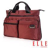 ELLE HOMME時尚火紅公事包搭配皮革IPAD/13吋筆電置物層側背手提兩用設計款-酒紅EL82303A-80