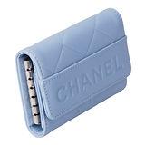 【展示品】CHANEL 經典菱格紋造型字母壓紋鑰匙包-藍