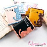 DF Queenin皮夾 - 繽紛糖果系點點貓背影零錢式短夾-共3色