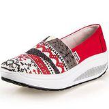 【Maya easy】增高搖擺鞋 帆布鞋 懶人套腳鞋 波西米亞民族風格款-紅色