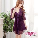 【天使霓裳】浪漫滿點 性感柔紗外罩式連身睡衣(深紫F)