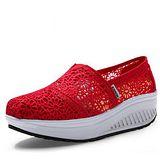 【Maya easy】增高搖擺鞋夏季綿質蕾絲透氣款華麗上市(正紅色) 休閒鞋 布鞋-35-40號