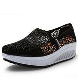 【Maya easy】增高搖擺鞋夏季綿質蕾絲透氣款華麗上市(正黑色) 休閒鞋 布鞋-35-40號