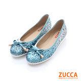 ZUCCA【Z-5702GN】華麗亮片金屬朵結增高包鞋-綠色