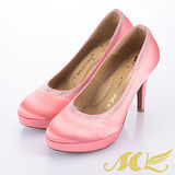 MK-臺灣製-水鑽滾邊珠光緞布厚底高跟鞋-玫瑰紅