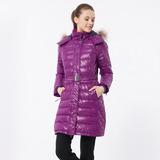【hilltop山頂鳥】女款蓄熱羽絨長大衣F21F61-深紫