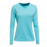 【hilltop山頂鳥】女款V領刷毛保暖上衣H51FE2-水藍