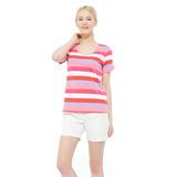 【hilltop山頂鳥】女款吸濕快乾短袖T恤S04FD9-紅/ 艷麗粉條紋