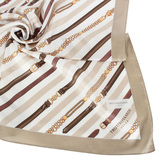 TRUSSARDI 斜紋鍊飾領帕巾-卡其