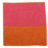 CELINE 素面雙色大版柔棉方巾-橘/粉紅