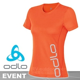 【瑞士 ODLO】女新款 EVENT 套頭衫短袖圓領大LOGO T恤/吸濕排汗衣.運動上衣/抗UV.快速排汗.透氣.輕量化 橘 321841