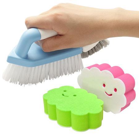【特惠組】日本AISEN黏貼式雲朵海綿刷+兩用磁磚清潔刷 -friDay購物 x GoHappy