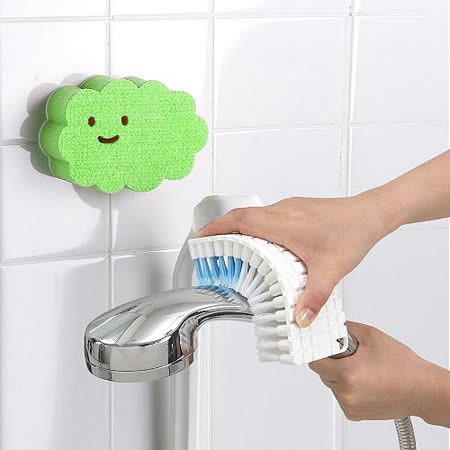 【特惠組】日本AISEN黏貼式雲朵海綿刷+可彎曲刷面清潔刷 -friDay購物 x GoHappy