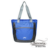 DF Queenin日韓 - 旅遊必備輕便式可折疊手提肩背2用包-漾藍