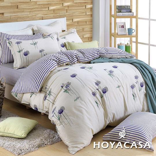 《HOYACASA 花之舞》雙人四件式純棉兩用被床包組(天絲入棉30%)