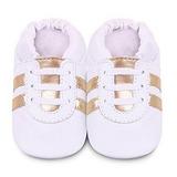 英國 shooshoos 安全無毒真皮手工鞋/學步鞋/嬰兒鞋 純白金鞋帶運動型(公司貨)
