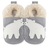 英國 shooshoos 安全無毒真皮手工鞋/學步鞋/嬰兒鞋 灰色/北極熊(公司貨)