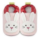 英國 shooshoos 健康無毒真皮手工鞋/學步鞋/嬰兒鞋 淡粉/白色小兔 #SPB25(公司貨)