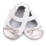 英國 shooshoos 健康無毒真皮手工鞋/學步鞋/嬰兒鞋 銀白芭蕾 VWH80 (公司貨)