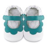 英國 shooshoos 安全無毒真皮手工鞋/學步鞋/嬰兒鞋 白色/薄荷綠荷葉(公司貨)