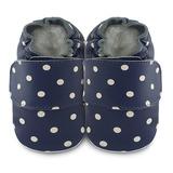 英國 shooshoos 安全無毒真皮手工鞋/學步鞋/嬰兒鞋 藍白點點(公司貨)