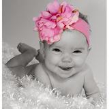 美國Jamie Rae 100%純棉髮帶 糖果粉寬髮帶+甜蜜糖果粉小牡丹 (JRHBP01)
