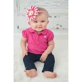美國Jamie Rae 100%純棉髮帶 糖果粉細髮帶+粉覆盆子雛菊 (JRFBD06)