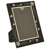 【凱堡】晶鑽玻璃5*7直橫式相框(花葉黑)