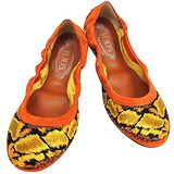 TODS 蛇紋麂皮豆豆弧形芭蕾舞鞋(36號)(橘色)