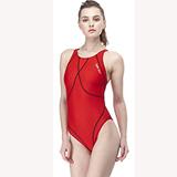 【SAIN SOU】大女競賽型連身三角泳裝加贈矽膠泳帽A97437-03